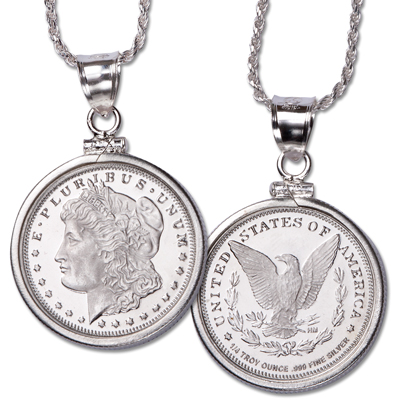 Image for 1/4 oz. Silver Round Morgan Pendant from Littleton Coin Company