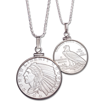Image for Indian Head Silver Round Necklace from Littleton Coin Company