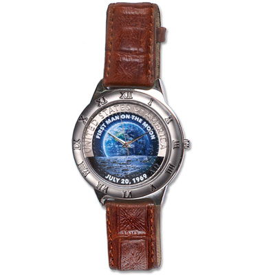 Image for Colorized Moon Landing Kennedy Half Dollar Watch from Littleton Coin Company