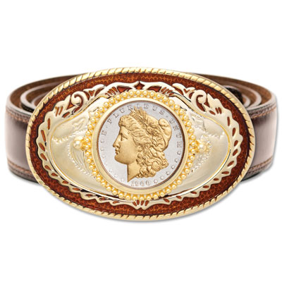 Image for Genuine Gold-Plated Morgan Dollar Belt Buckle from Littleton Coin Company