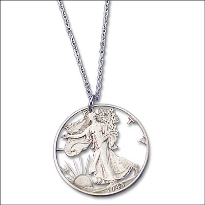 Image for Liberty Walking Half Dollar Cut Coin Necklace from Littleton Coin Company