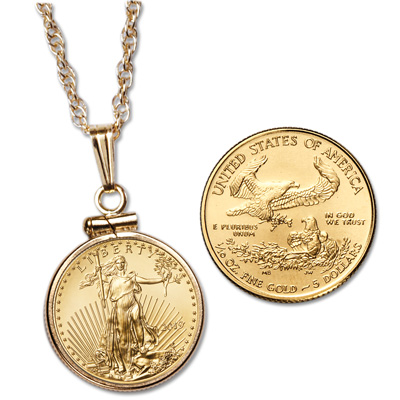Image for $5 American Gold Eagle Necklace from Littleton Coin Company