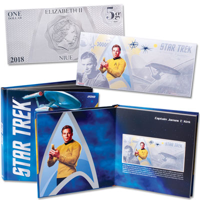 Image for 2018 Niue Star Trek Original Series Captain Kirk Silver $1 Coin Note with Collector's Album from Littleton Coin Company