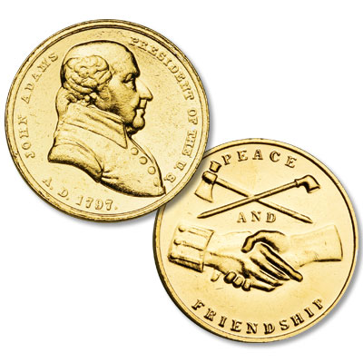 Image for Gold-Plated John Adams Medal from Littleton Coin Company