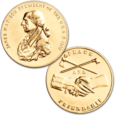 Image for Gold-Plated James Madison Medal from Littleton Coin Company
