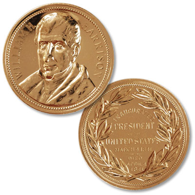 Image for Gold-Plated William Henry Harrison Medal from Littleton Coin Company