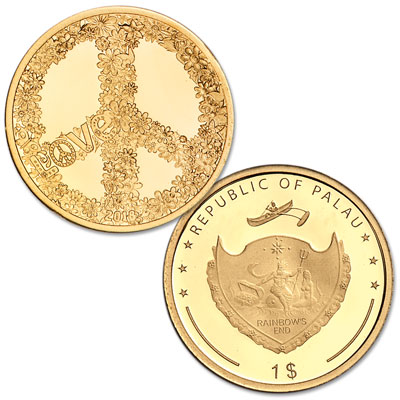 Image for 2018 Palau .5g Gold $1 Love and Peace from Littleton Coin Company