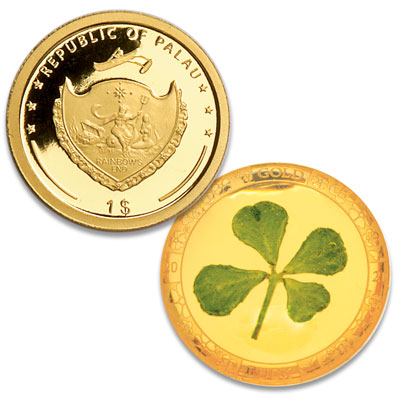 Image for 2021 Palau Gold $1 Four Leaf Clover from Littleton Coin Company
