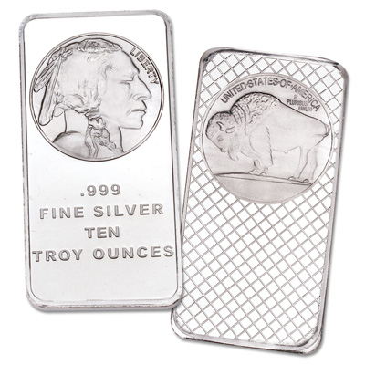 Image for 10 oz. Silver Buffalo & Indian Bar from Littleton Coin Company