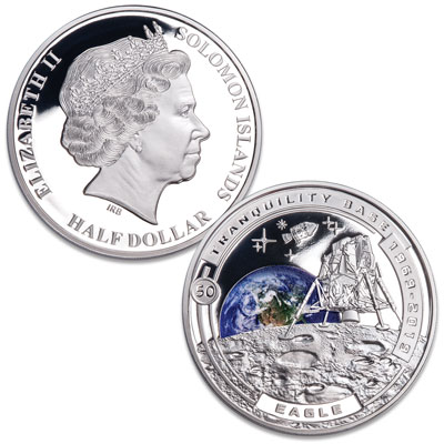 Image for 2019 Solomon Island Silver Plated Half Dollar Tranquility Base of Moon Landing from Littleton Coin Company