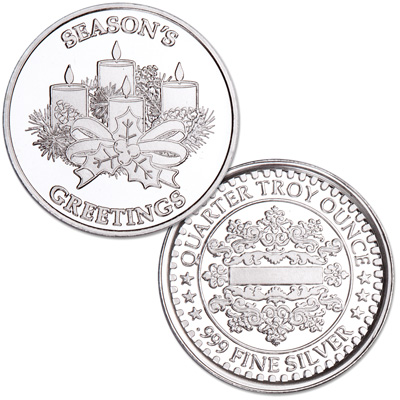 Image for Season's Greetings Silver Round - Candles from Littleton Coin Company