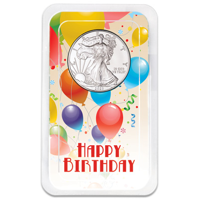 Image for 2021 Silver American Eagle in Happy Birthday Showpak from Littleton Coin Company
