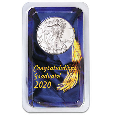 Image for 2020 Silver American Eagle in Graduation Showpak from Littleton Coin Company