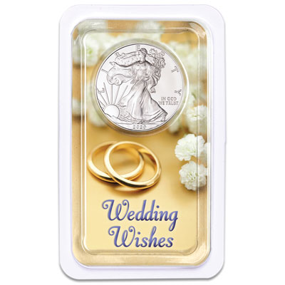 Image for 2020 Silver American Eagle in Wedding Wishes Showpak from Littleton Coin Company
