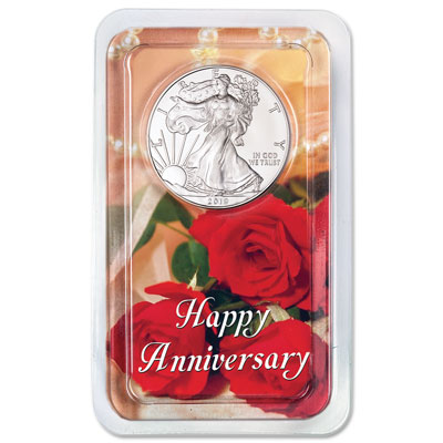 Image for 2019 Silver American Eagle in Happy Anniversary Showpak from Littleton Coin Company
