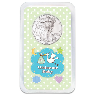 Image for 2021 Silver American Eagle in New Baby Showpak from Littleton Coin Company