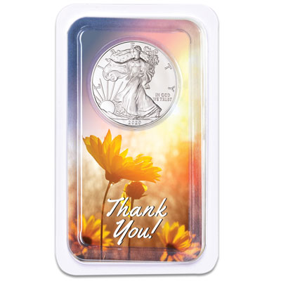 Image for 2020 Silver American Eagle in Thank You Showpak from Littleton Coin Company