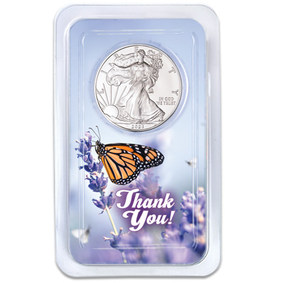 Image for 2021 Silver American Eagle in Thank You Showpak from Littleton Coin Company