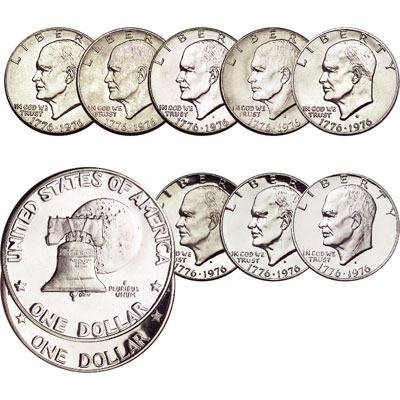 Image for 1976 Bicentennial Eisenhower Dollar Set (8 coins) from Littleton Coin Company
