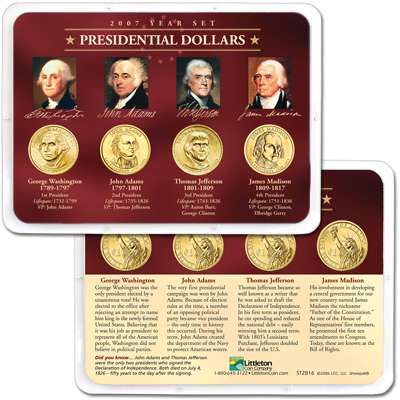 Image for 2007 Presidential Dollar Year Set in Showpak (4 coins) from Littleton Coin Company