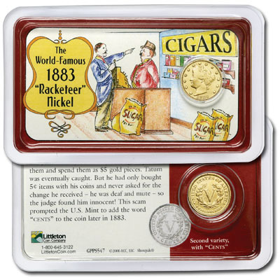 "Image for 1883 ""No Cents"" Gold-Plated Liberty Head Nickel in Showpak from Littleton Coin Company"