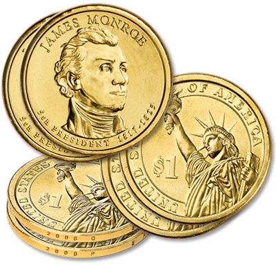 Image for 2008 P&D James Monroe Presidential Dollar Set (2-Coins) from Littleton Coin Company