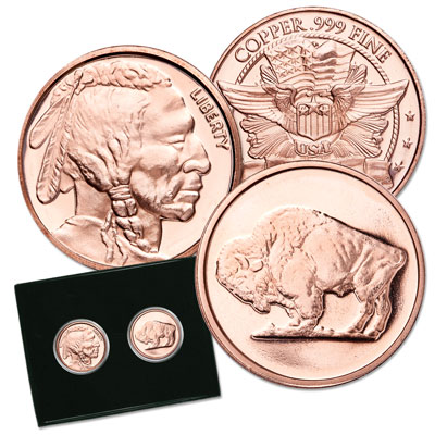 Image for Set of Two 1 oz. Copper Rounds - Buffalo & Indian from Littleton Coin Company