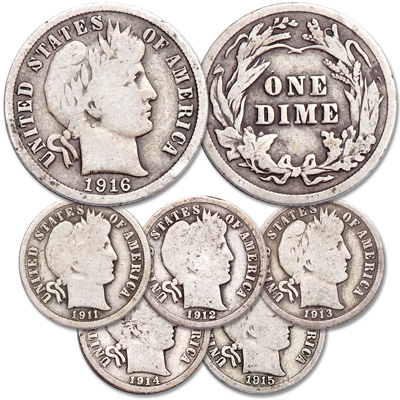 Image for 1911-1916 Barber Silver Dime Set from Littleton Coin Company