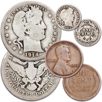 Image for 1914 Century-Old U.S. Coin Set (3 coins) from Littleton Coin Company