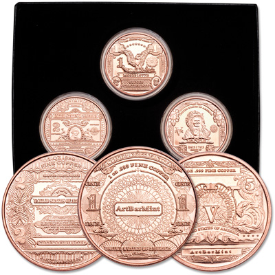 Image for 1 oz. Copper Rounds Set from Littleton Coin Company