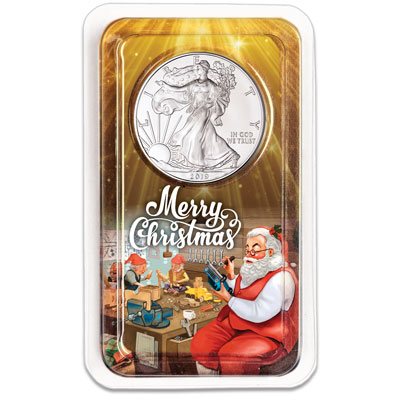 Image for 2019 Silver American Eagle in Merry Christmas Showpak from Littleton Coin Company