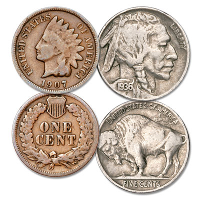 Image for Indian Head Cent & Buffalo Nickel Set from Littleton Coin Company