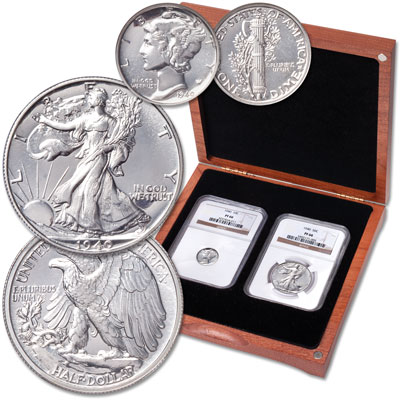 Image for 1940 Mercury Dime & Liberty Walking Half Dollar Set in Cherry Wood Case from Littleton Coin Company