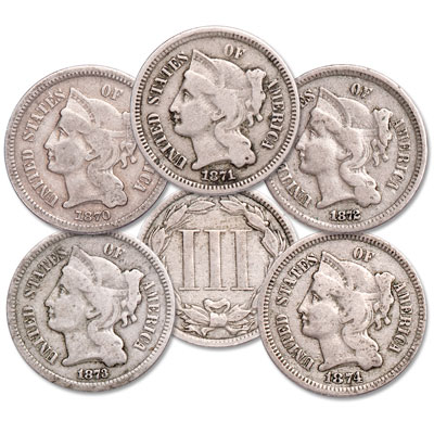 Image for 1870-1874 Nickel 3 Cent Piece Set from Littleton Coin Company