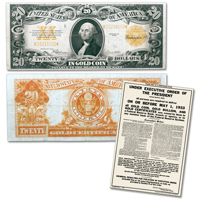 Image for 1922 $20 Gold Certificate & Recall Notice from Littleton Coin Company