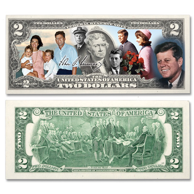 Image for Colorized John F. Kennedy $2 Federal Reserve Note - Life & Legacy from Littleton Coin Company
