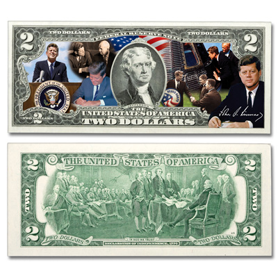 Image for Colorized John F. Kennedy $2 Federal Reserve Note - Achievements from Littleton Coin Company