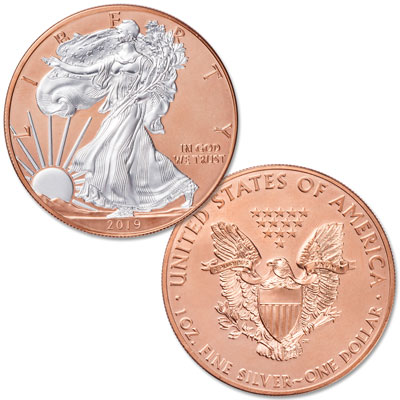Image for 2019 Rose Gold-Plated Silver American Eagle with Case from Littleton Coin Company