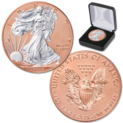 Image for 2020 Rose Gold-Plated Silver American Eagle with Case from Littleton Coin Company