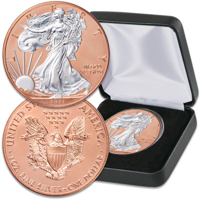 Image for 2021 Rose Gold-Plated Silver American Eagle with Case from Littleton Coin Company