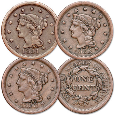 Image for 1851-1853 Consecutive Braided Hair Large Cent Set from Littleton Coin Company
