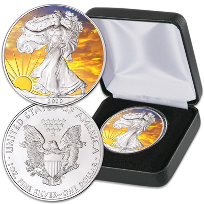 Image for 2020 Colorized & Gold-Plated Dawn's Early Light Silver American Eagle from Littleton Coin Company