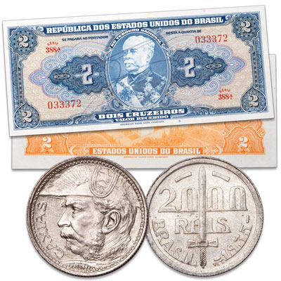 Image for 1935-1944 Brazil Coin and Note Set from Littleton Coin Company