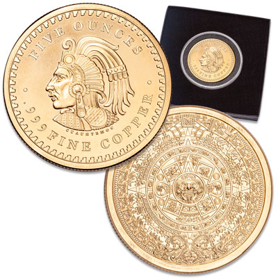 Image for Aztec Calendar Gold-Plated Copper Round from Littleton Coin Company