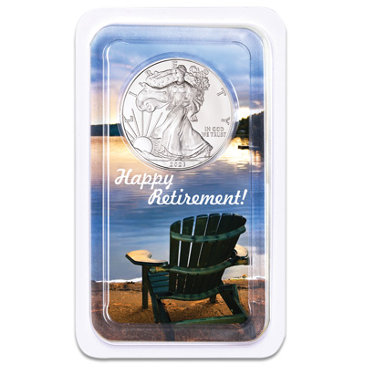 Image for 2021 Silver American Eagle in Happy Retirement Showpak from Littleton Coin Company