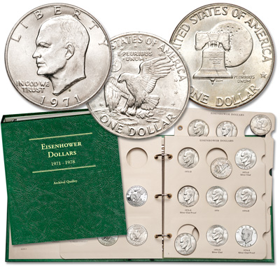 Image for 1971-1978 Eisenhower Dollar Set with Album from Littleton Coin Company