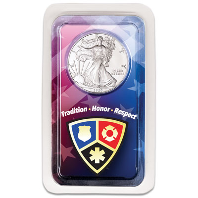 Image for 2020 Silver American Eagle in Emergency Services Showpak from Littleton Coin Company