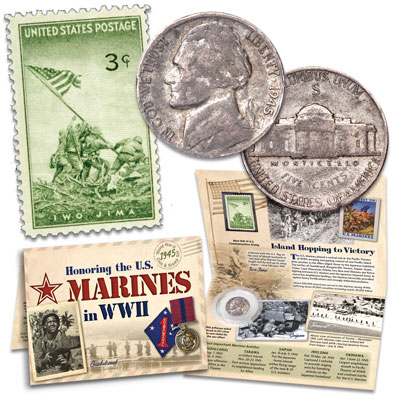 Image for 1945 Jefferson Wartime Nickel Coin & Stamp Set from Littleton Coin Company