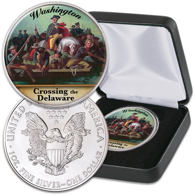 Image for 2021 Colorized Washington Crossing the Delaware Silver American Eagle from Littleton Coin Company